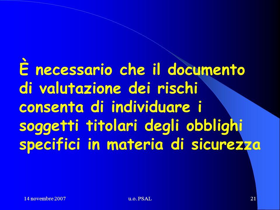 14 novembre 2007u.o. PSAL21 È necessario che il documento di valutazione dei rischi consenta di individuare i soggetti titolari degli obblighi specifi