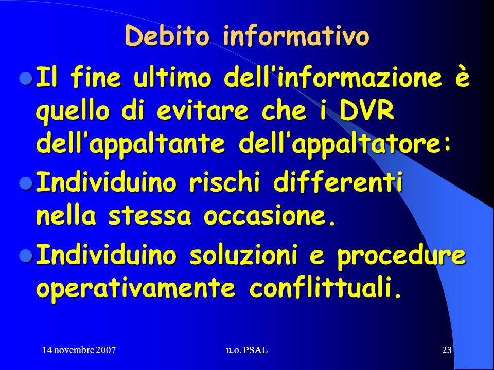 14 novembre 2007u.o. PSAL23 Debito informativo Il fine ultimo dellinformazione è quello di evitare che i DVR dellappaltante dellappaltatore: Il fine u