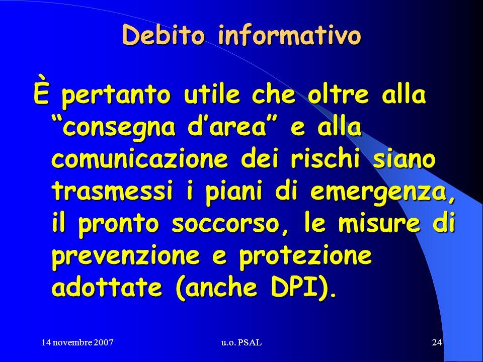 14 novembre 2007u.o. PSAL24 Debito informativo È pertanto utile che oltre alla consegna darea e alla comunicazione dei rischi siano trasmessi i piani
