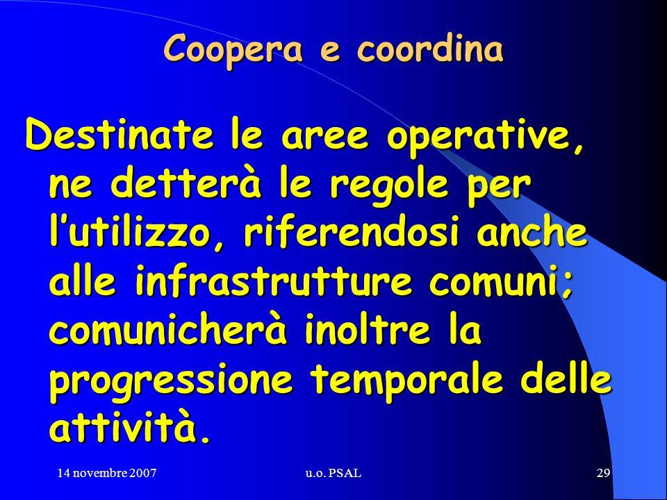 14 novembre 2007u.o. PSAL29 Coopera e coordina Destinate le aree operative, ne detterà le regole per lutilizzo, riferendosi anche alle infrastrutture