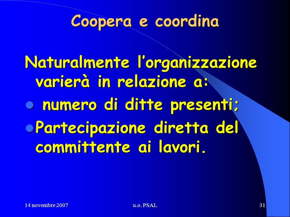 14 novembre 2007u.o. PSAL31 Coopera e coordina Naturalmente lorganizzazione varierà in relazione a: numero di ditte presenti; numero di ditte presenti