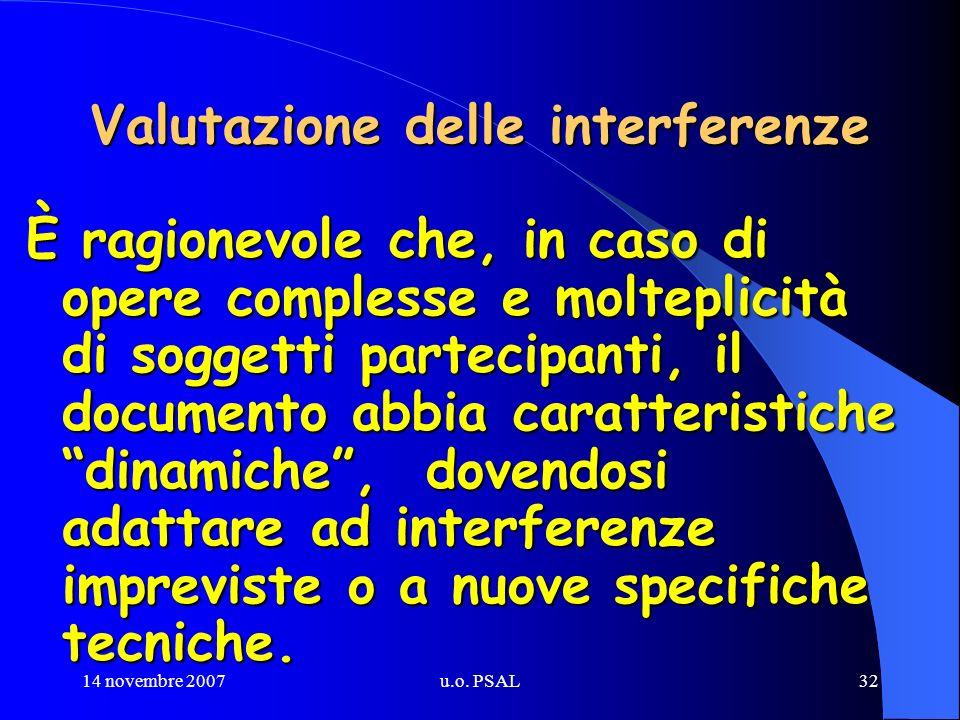 14 novembre 2007u.o. PSAL32 Valutazione delle interferenze È ragionevole che, in caso di opere complesse e molteplicità di soggetti partecipanti, il d