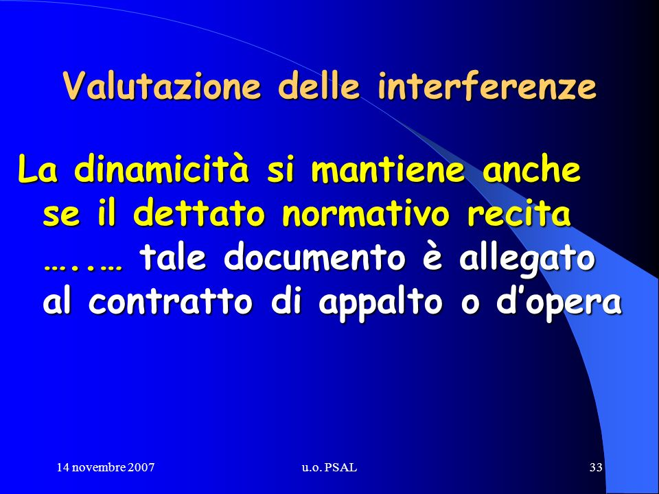14 novembre 2007u.o. PSAL33 Valutazione delle interferenze La dinamicità si mantiene anche se il dettato normativo recita …..… tale documento è allega