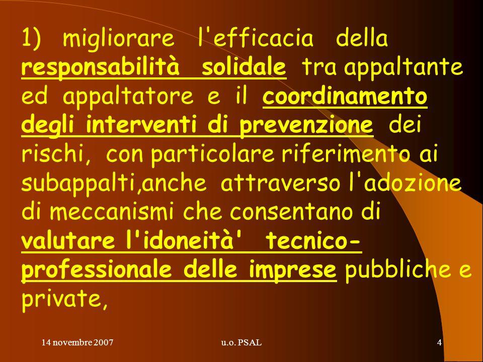 14 novembre 2007u.o. PSAL4 1) migliorare l'efficacia della responsabilità solidale tra appaltante ed appaltatore e il coordinamento degli interventi d