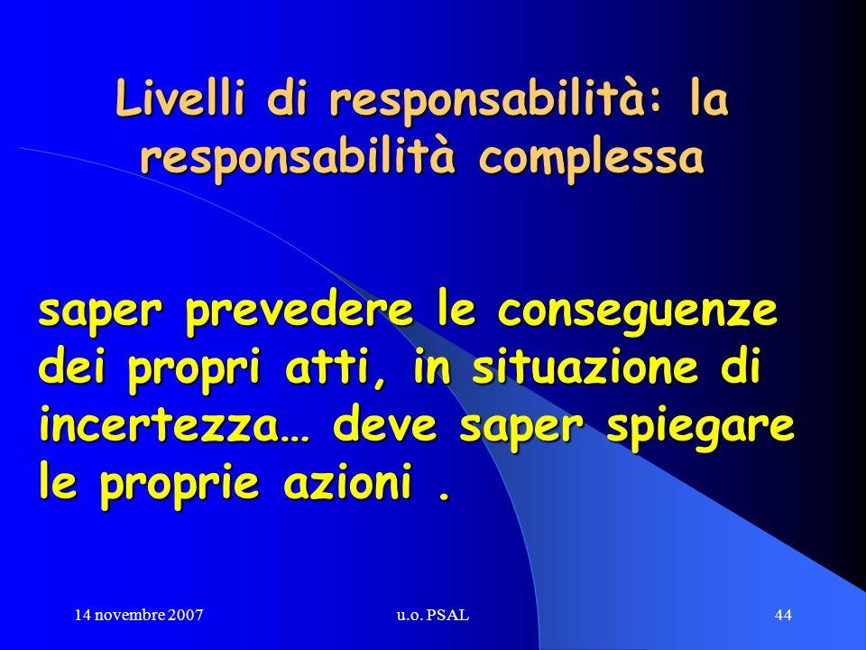 14 novembre 2007u.o. PSAL44 Livelli di responsabilità: la responsabilità complessa saper prevedere le conseguenze dei propri atti, in situazione di in