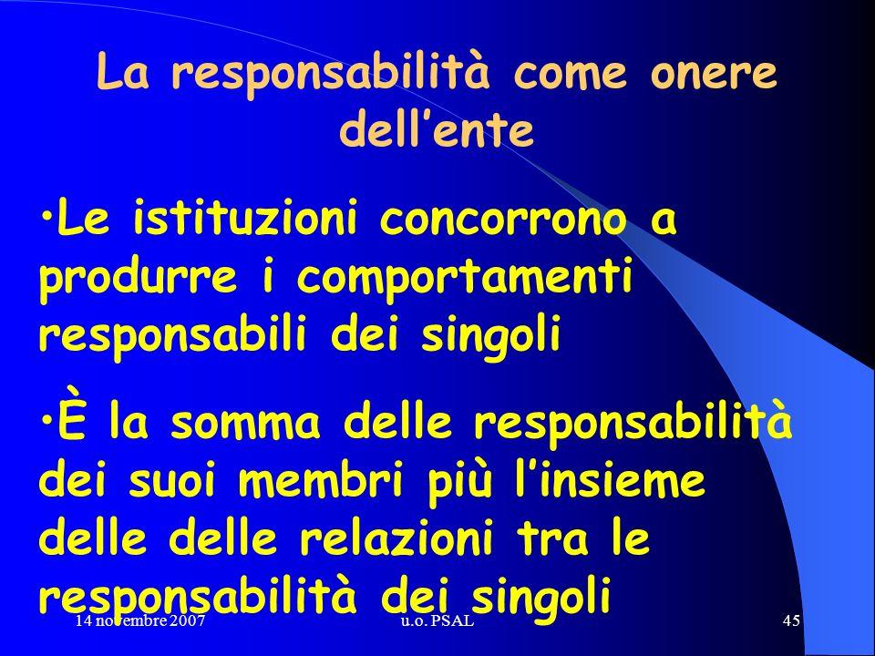 14 novembre 2007u.o. PSAL45 La responsabilità come onere dellente Le istituzioni concorrono a produrre i comportamenti responsabili dei singoli È la s