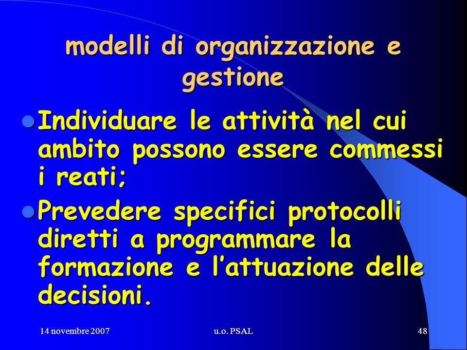 14 novembre 2007u.o. PSAL48 modelli di organizzazione e gestione Individuare le attività nel cui ambito possono essere commessi i reati; Individuare l