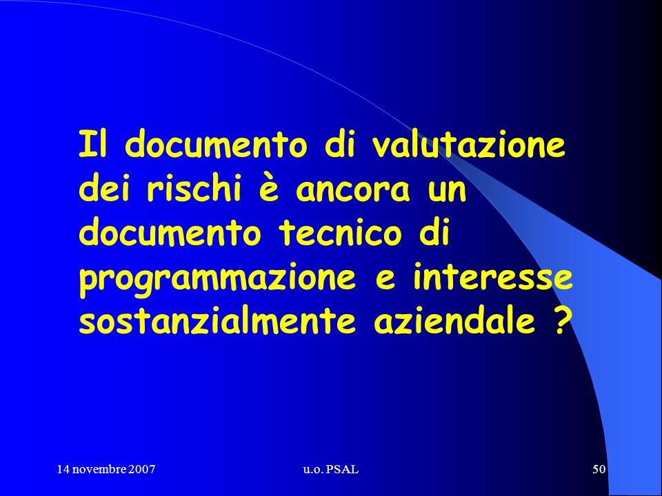 14 novembre 2007u.o. PSAL50 Il documento di valutazione dei rischi è ancora un documento tecnico di programmazione e interesse sostanzialmente azienda