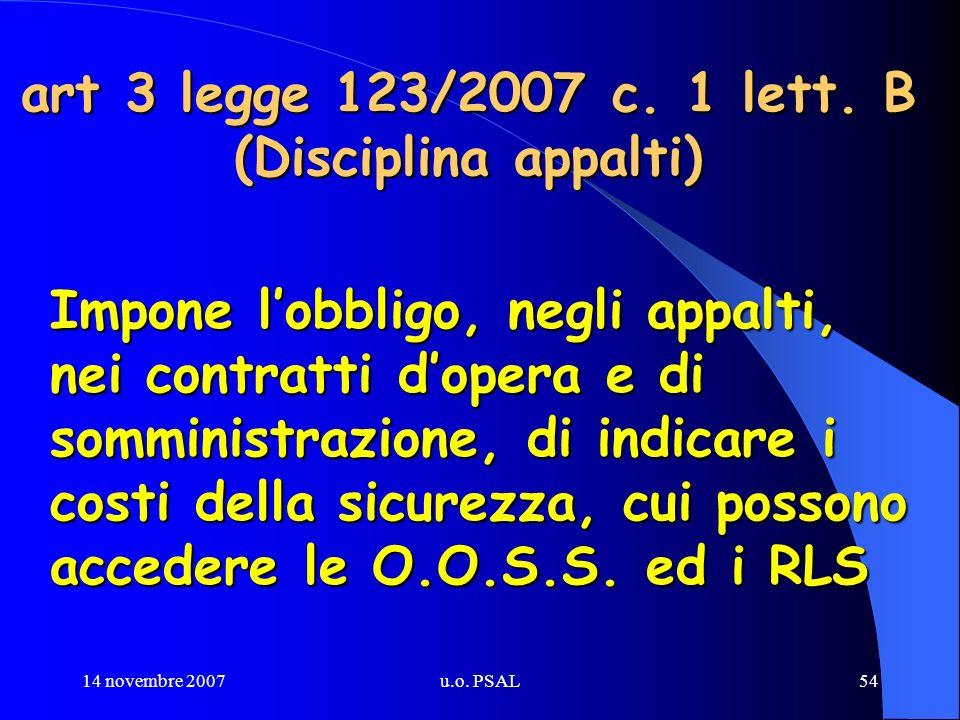 14 novembre 2007u.o. PSAL54 art 3 legge 123/2007 c. 1 lett. B (Disciplina appalti) Impone lobbligo, negli appalti, nei contratti dopera e di somminist