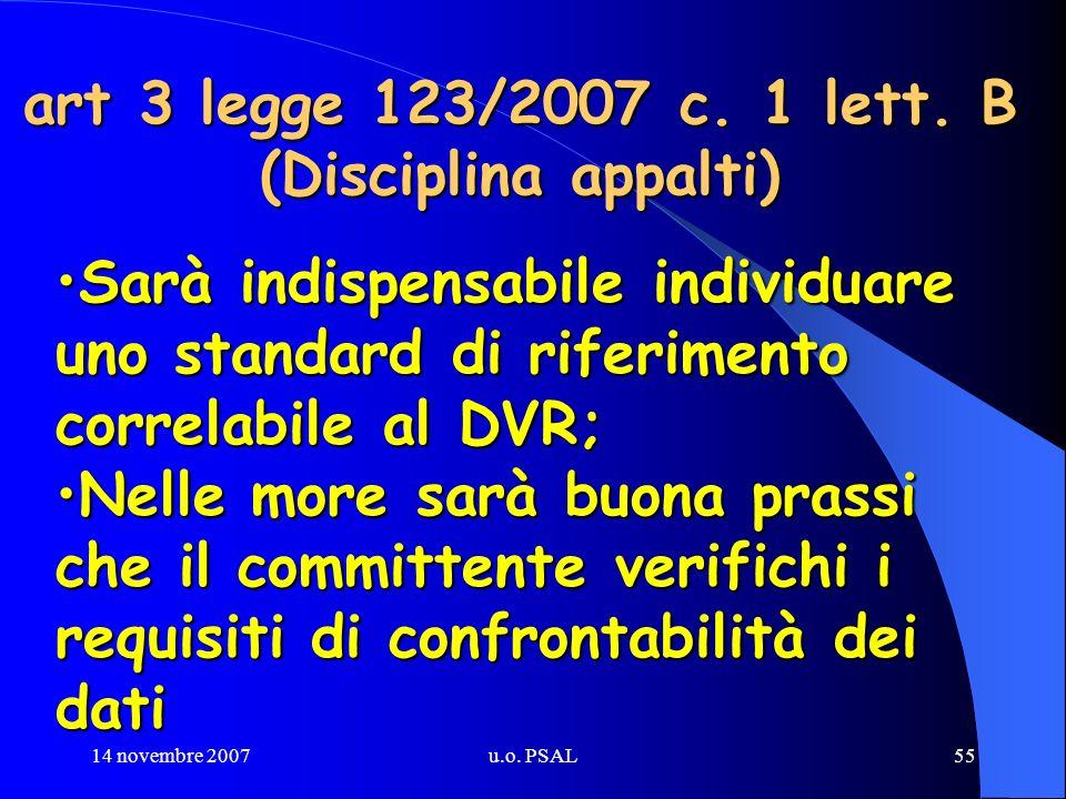 14 novembre 2007u.o. PSAL55 art 3 legge 123/2007 c. 1 lett. B (Disciplina appalti) Sarà indispensabile individuare uno standard di riferimento correla