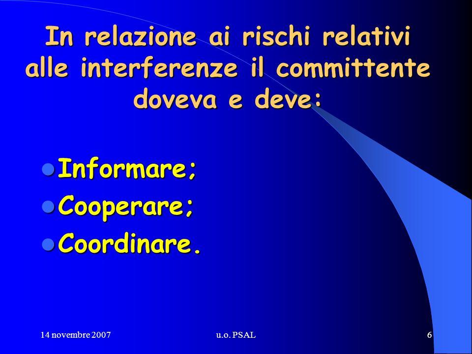 14 novembre 2007u.o. PSAL6 In relazione ai rischi relativi alle interferenze il committente doveva e deve: Informare; Informare; Cooperare; Cooperare;