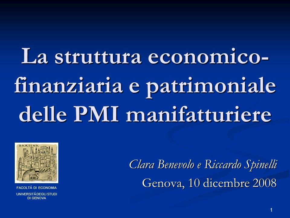 1 La struttura economico- finanziaria e patrimoniale delle PMI manifatturiere Clara Benevolo e Riccardo Spinelli Genova, 10 dicembre 2008 FACOLTÁ DI ECONOMIA UNIVERSITÁ DEGLI STUDI DI GENOVA