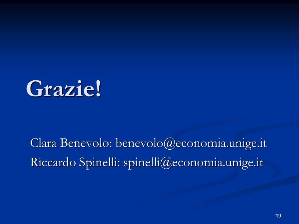 19 Grazie! Clara Benevolo: benevolo@economia.unige.it Riccardo Spinelli: spinelli@economia.unige.it