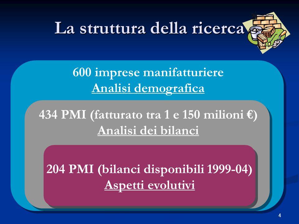 4 La struttura della ricerca 600 imprese manifatturiere Analisi demografica 434 PMI (fatturato tra 1 e 150 milioni ) Analisi dei bilanci 204 PMI (bilanci disponibili 1999-04) Aspetti evolutivi