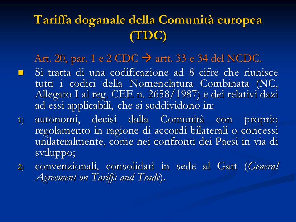 Tariffa doganale della Comunità europea (TDC) Art.