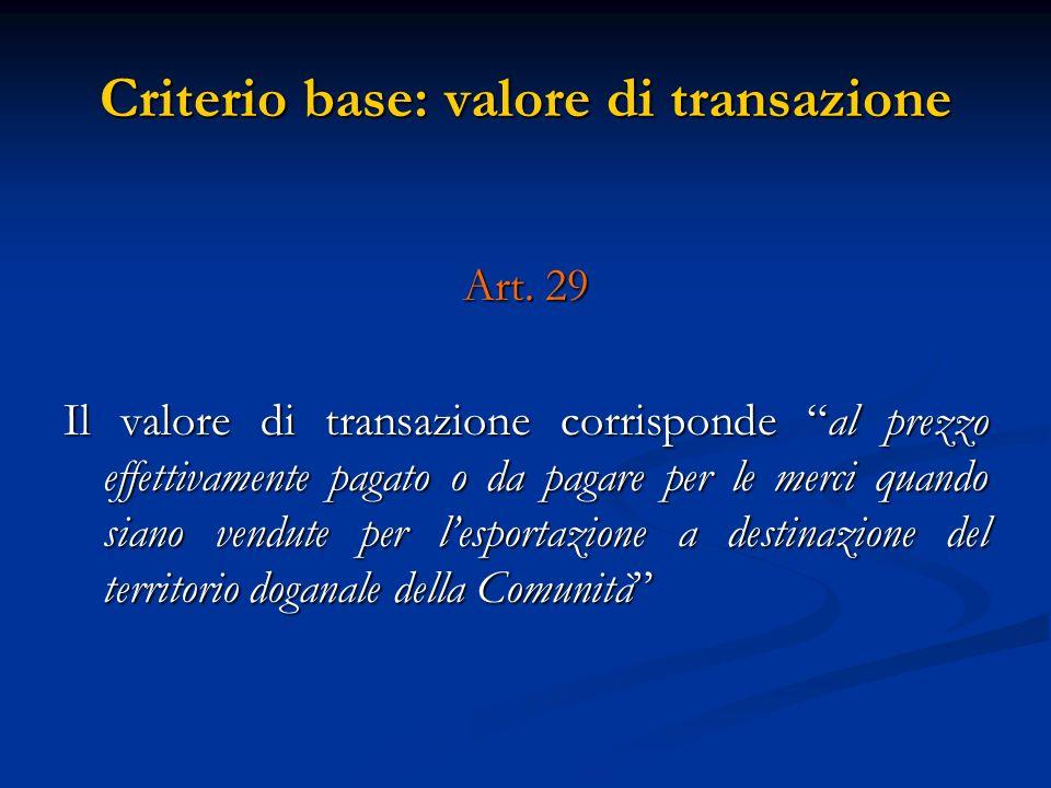 Criterio base: valore di transazione Art.