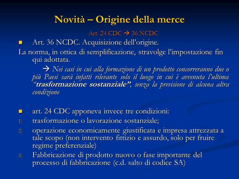 Novità – Origine della merce Art.24 CDC 36 NCDC Art.