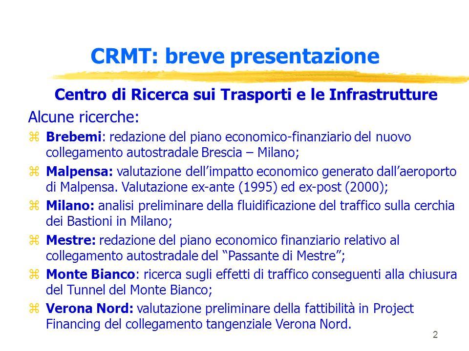 2 CRMT: breve presentazione Centro di Ricerca sui Trasporti e le Infrastrutture Alcune ricerche: zBrebemi: redazione del piano economico-finanziario d