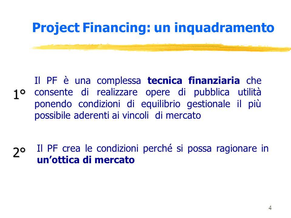 4 Project Financing: un inquadramento Il PF è una complessa tecnica finanziaria che consente di realizzare opere di pubblica utilità ponendo condizioni di equilibrio gestionale il più possibile aderenti ai vincoli di mercato 1° 2° Il PF crea le condizioni perché si possa ragionare in unottica di mercato