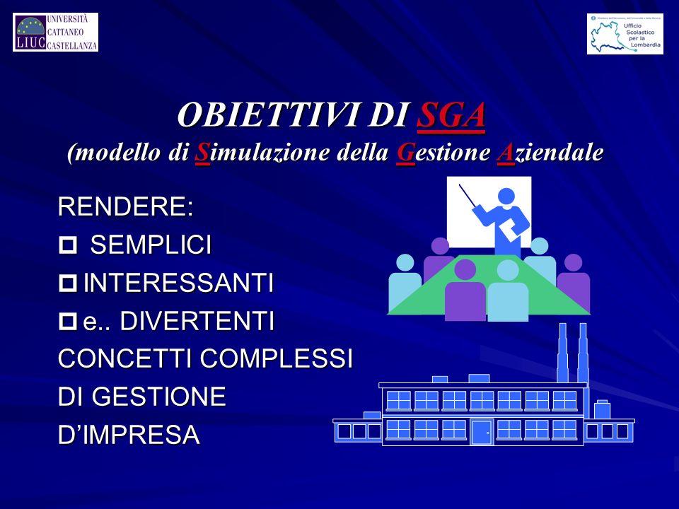 OBIETTIVI DI SGA (modello di Simulazione della Gestione Aziendale RENDERE: p SEMPLICI p INTERESSANTI p e..