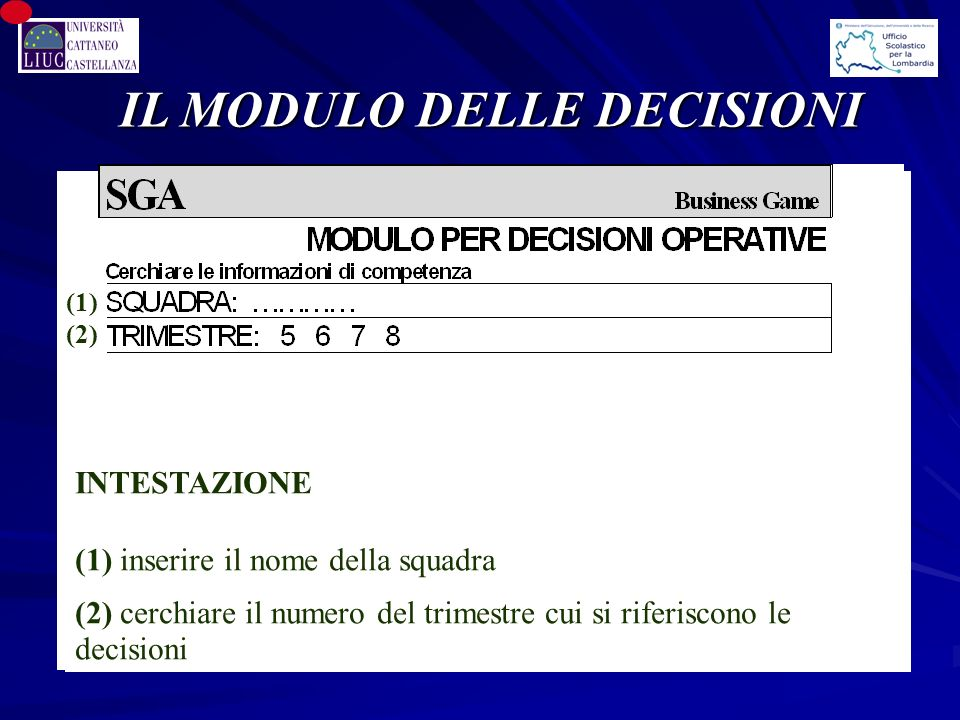 IL MODULO DELLE DECISIONI (1) (2) INTESTAZIONE (1) inserire il nome della squadra (2) cerchiare il numero del trimestre cui si riferiscono le decisioni