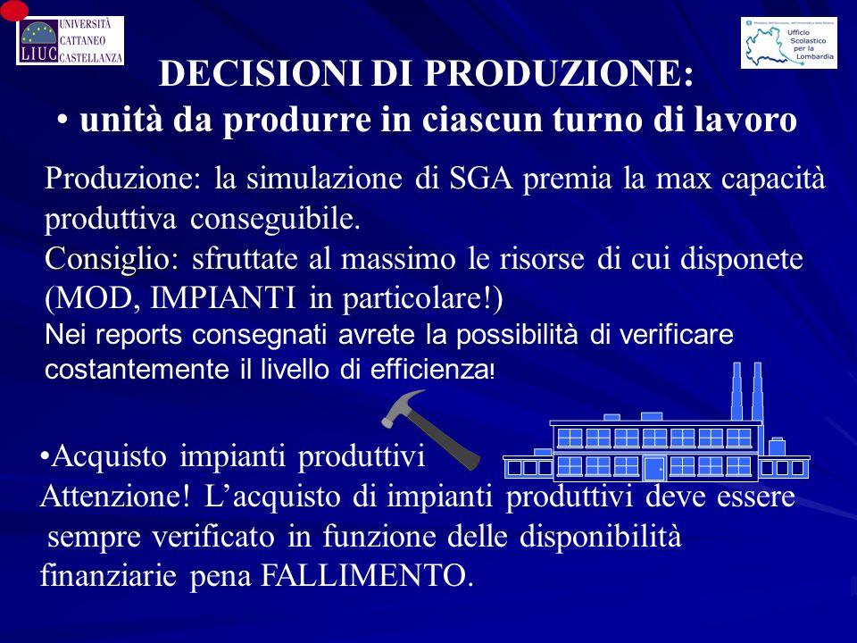 Produzione: la simulazione di SGA premia la max capacità produttiva conseguibile.