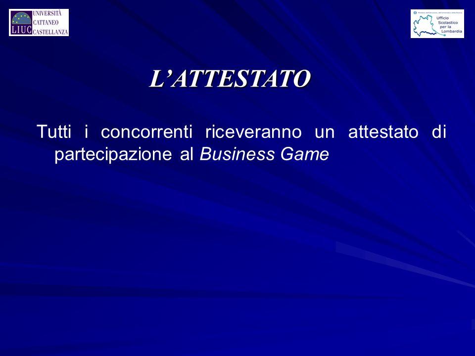 LATTESTATO Tutti i concorrenti riceveranno un attestato di partecipazione al Business Game