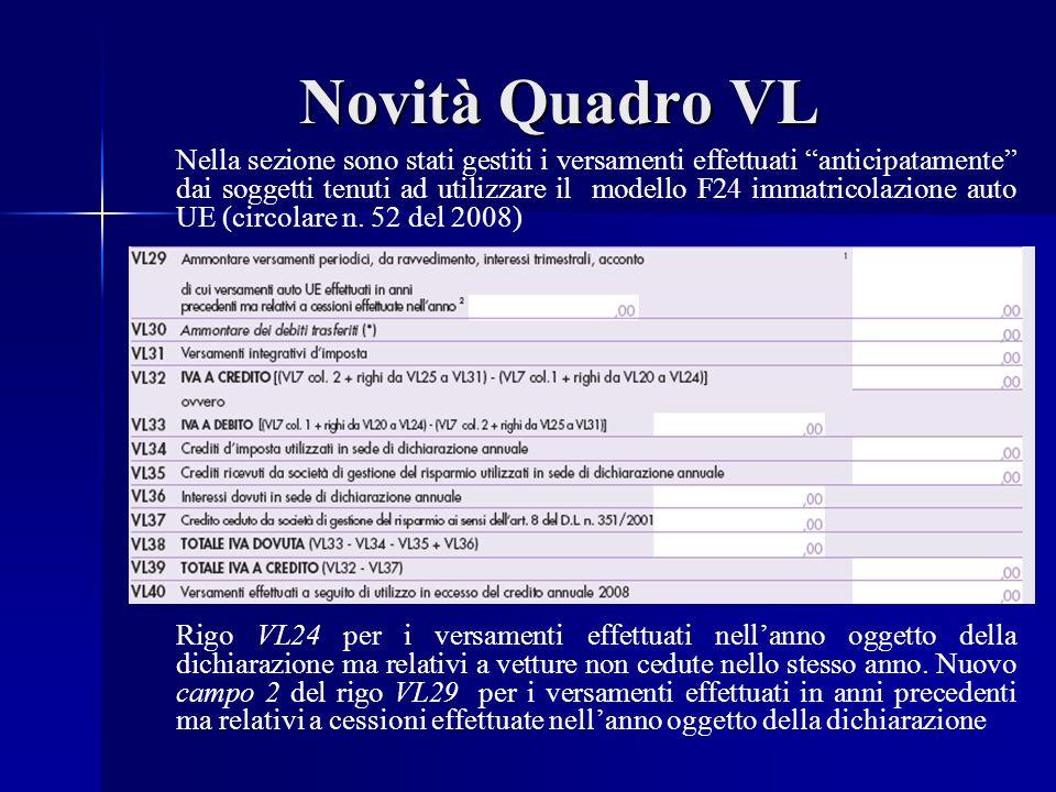 Novità Quadro VL Nella sezione sono stati gestiti i versamenti effettuati anticipatamente dai soggetti tenuti ad utilizzare il modello F24 immatricolazione auto UE (circolare n.