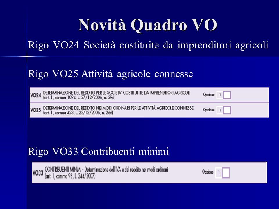 Novità Quadro VO Rigo VO24 Società costituite da imprenditori agricoli Rigo VO25 Attività agricole connesse Rigo VO33 Contribuenti minimi