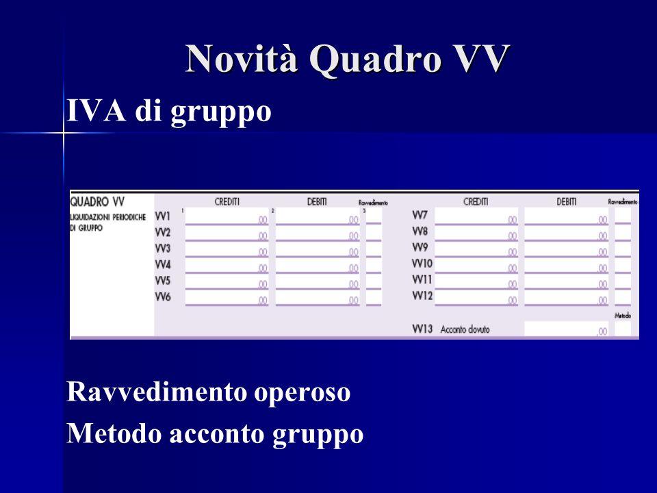 Novità Quadro VV IVA di gruppo Ravvedimento operoso Metodo acconto gruppo