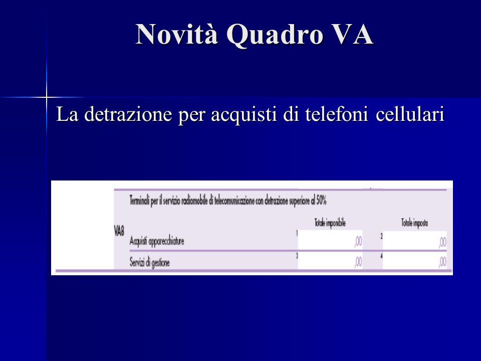 Novità Quadro VA La detrazione per acquisti di telefoni cellulari