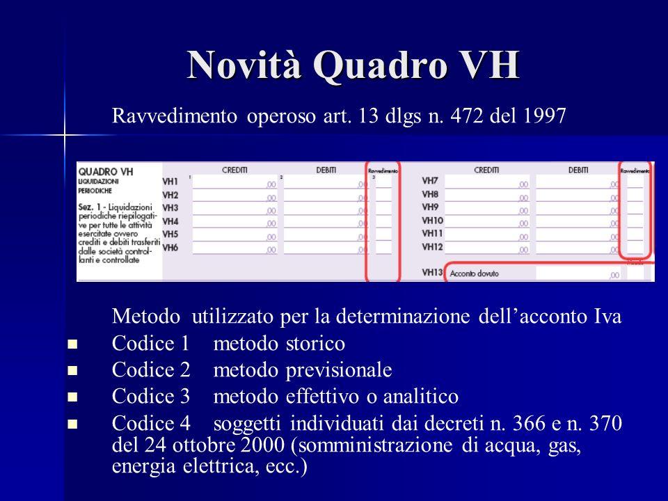 Novità Quadro VH Ravvedimento operoso art. 13 dlgs n.
