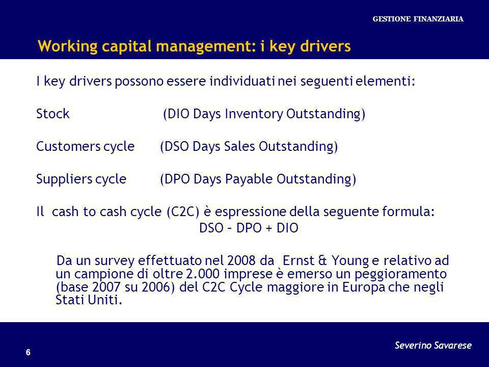 Severino Savarese GESTIONE FINANZIARIA 6 Working capital management: i key drivers I key drivers possono essere individuati nei seguenti elementi: Stock (DIO Days Inventory Outstanding) Customers cycle (DSO Days Sales Outstanding) Suppliers cycle (DPO Days Payable Outstanding) Il cash to cash cycle (C2C) è espressione della seguente formula: DSO – DPO + DIO Da un survey effettuato nel 2008 da Ernst & Young e relativo ad un campione di oltre 2.000 imprese è emerso un peggioramento (base 2007 su 2006) del C2C Cycle maggiore in Europa che negli Stati Uniti.