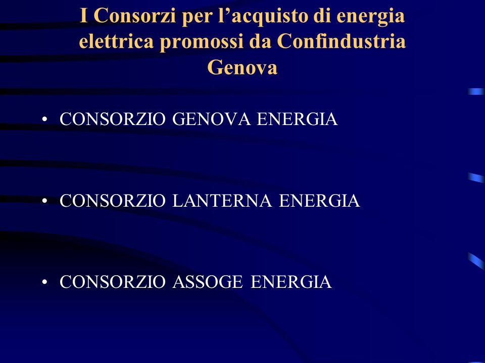 I Consorzi per lacquisto di energia elettrica promossi da Confindustria Genova CONSORZIO GENOVA ENERGIA CONSORZIO LANTERNA ENERGIA CONSORZIO ASSOGE EN