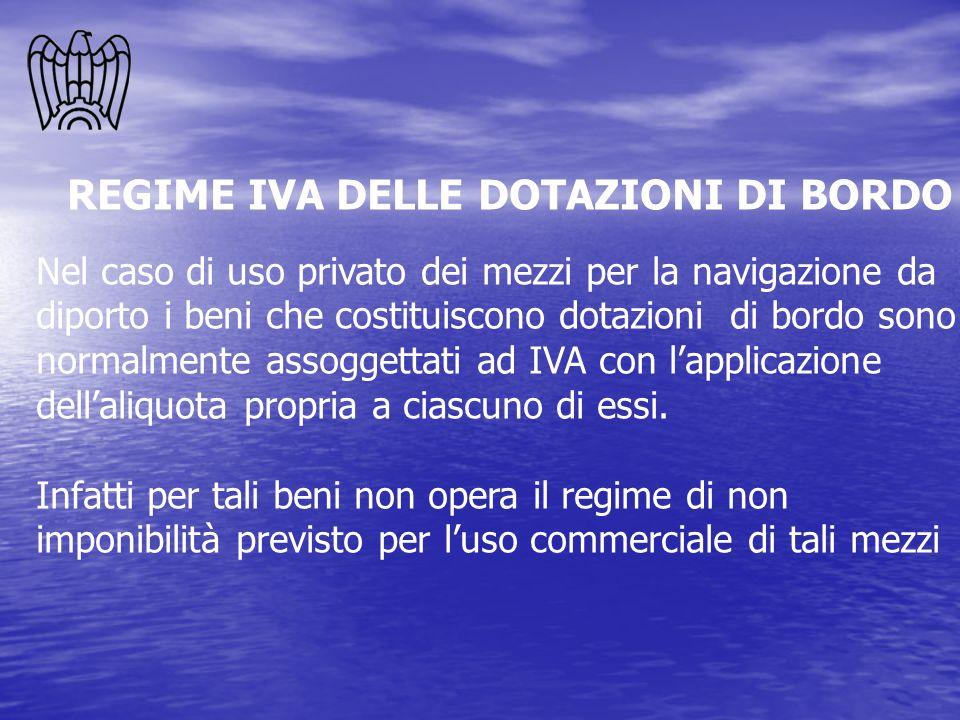 REGIME IVA DELLE DOTAZIONI DI BORDO Nel caso di uso privato dei mezzi per la navigazione da diporto i beni che costituiscono dotazioni di bordo sono n