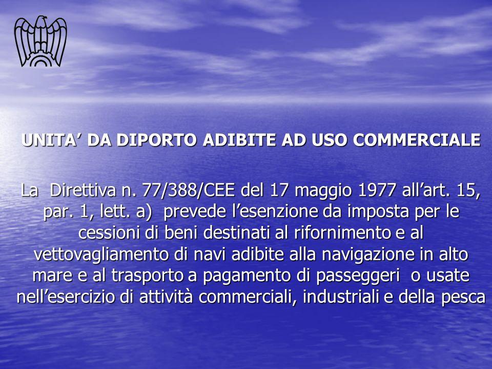 UNITA DA DIPORTO ADIBITE AD USO COMMERCIALE La Direttiva n. 77/388/CEE del 17 maggio 1977 allart. 15, par. 1, lett. a) prevede lesenzione da imposta p