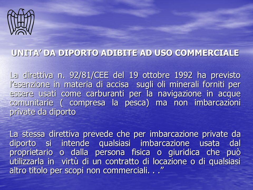 UNITA DA DIPORTO ADIBITE AD USO COMMERCIALE La direttiva n. 92/81/CEE del 19 ottobre 1992 ha previsto lesenzione in materia di accisa sugli oli minera