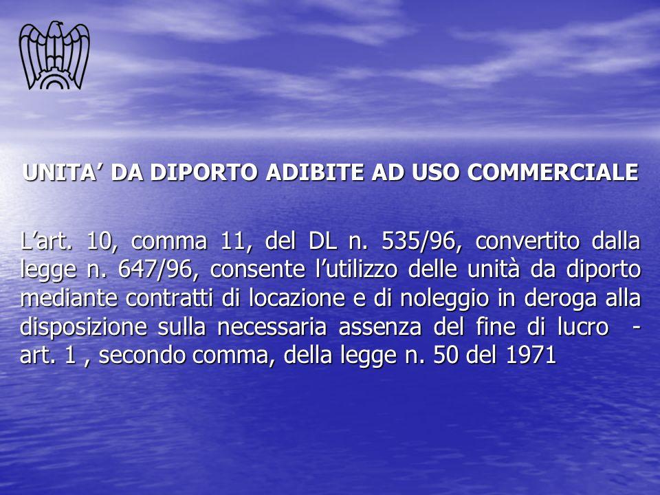 UNITA DA DIPORTO ADIBITE AD USO COMMERCIALE Lart. 10, comma 11, del DL n. 535/96, convertito dalla legge n. 647/96, consente lutilizzo delle unità da