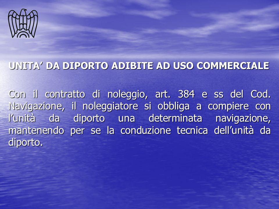 UNITA DA DIPORTO ADIBITE AD USO COMMERCIALE Con il contratto di noleggio, art. 384 e ss del Cod. Navigazione, il noleggiatore si obbliga a compiere co