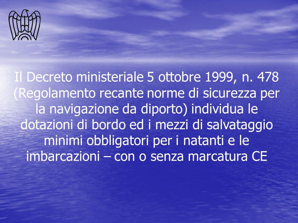 Il Decreto ministeriale 5 ottobre 1999, n. 478 (Regolamento recante norme di sicurezza per la navigazione da diporto) individua le dotazioni di bordo