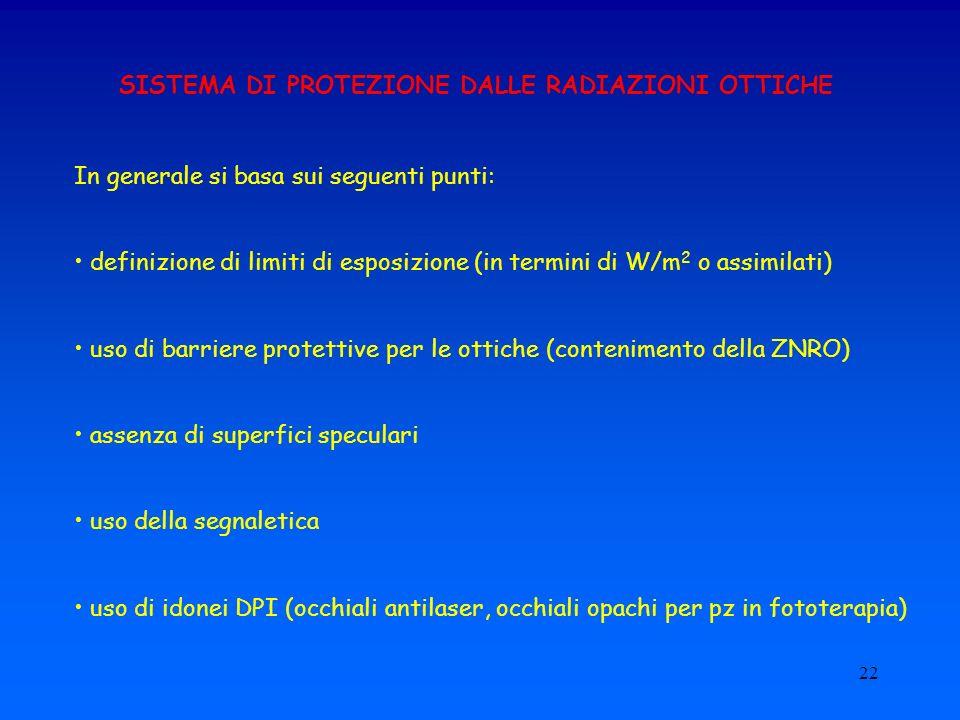 22 SISTEMA DI PROTEZIONE DALLE RADIAZIONI OTTICHE In generale si basa sui seguenti punti: definizione di limiti di esposizione (in termini di W/m 2 o