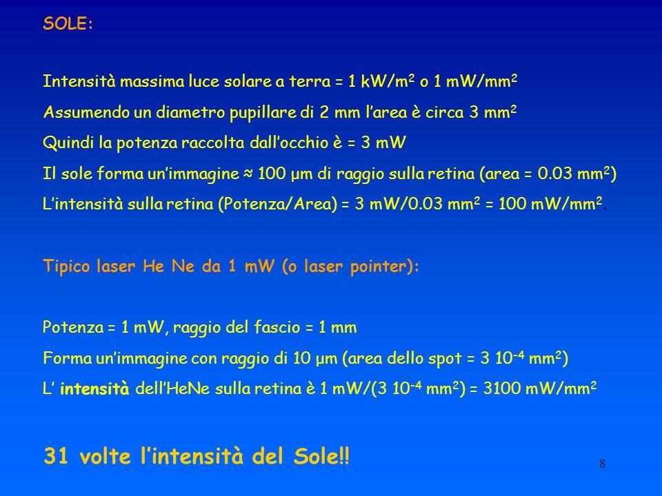 8 SOLE: Intensità massima luce solare a terra = 1 kW/m 2 o 1 mW/mm 2 Assumendo un diametro pupillare di 2 mm larea è circa 3 mm 2 Quindi la potenza ra