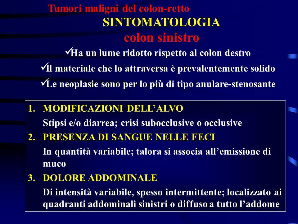 Tumori maligni del colon-retto SINTOMATOLOGIA colon sinistro Ha un lume ridotto rispetto al colon destro Il materiale che lo attraversa è prevalenteme