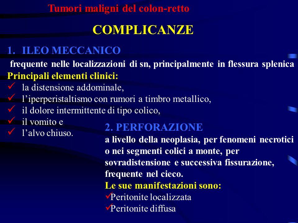 Tumori maligni del colon-retto COMPLICANZE 1.ILEO MECCANICO frequente nelle localizzazioni di sn, principalmente in flessura splenica Principali eleme