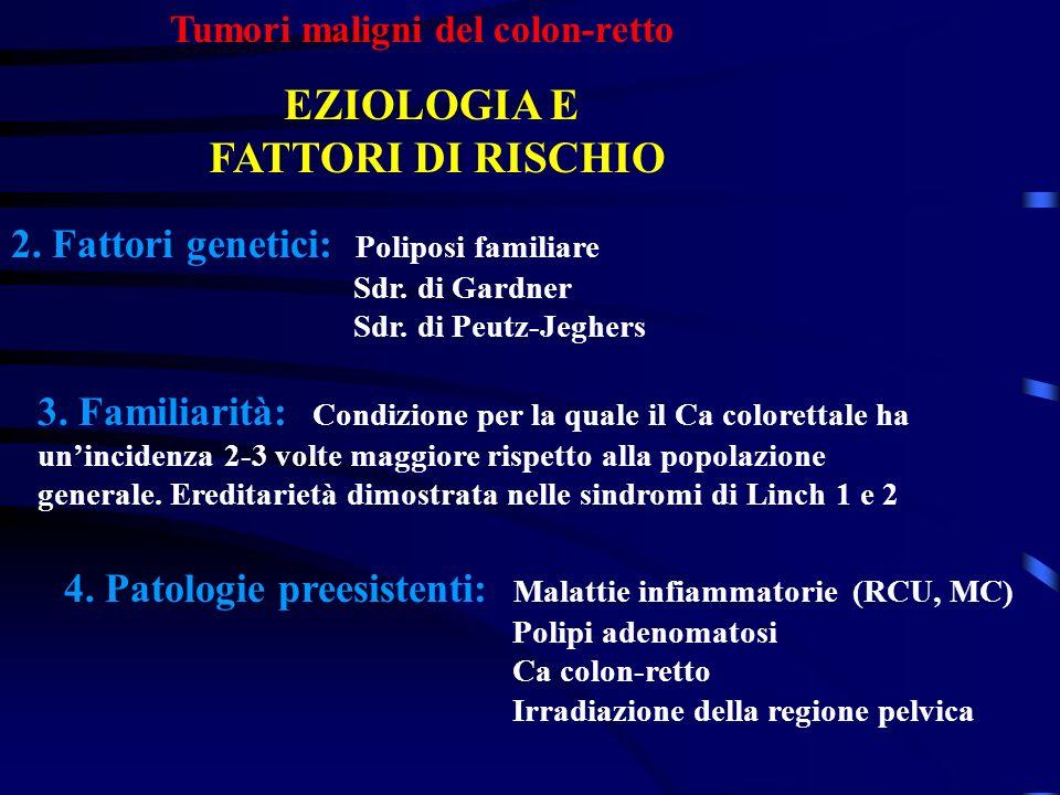 Tumori maligni del colon-retto EZIOLOGIA E FATTORI DI RISCHIO 2. Fattori genetici: Poliposi familiare Sdr. di Gardner Sdr. di Peutz-Jeghers 3. Familia
