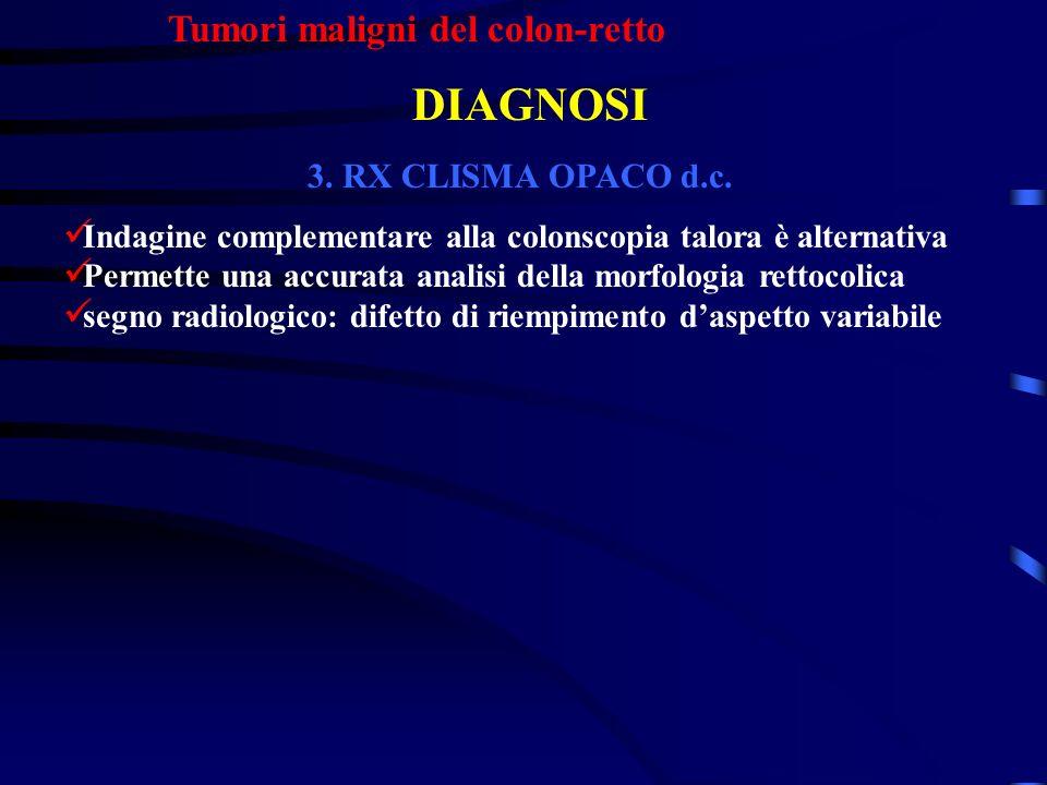 Tumori maligni del colon-retto DIAGNOSI 3. RX CLISMA OPACO d.c. Indagine complementare alla colonscopia talora è alternativa Permette una accurata ana