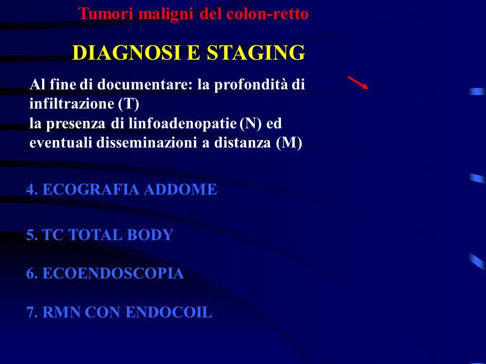 Tumori maligni del colon-retto DIAGNOSI E STAGING 4. ECOGRAFIA ADDOME 5. TC TOTAL BODY 6. ECOENDOSCOPIA 7. RMN CON ENDOCOIL Al fine di documentare: la