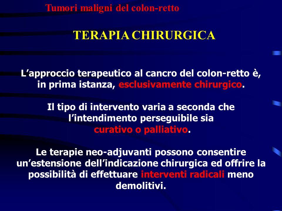 Tumori maligni del colon-retto TERAPIA CHIRURGICA Lapproccio terapeutico al cancro del colon-retto è, in prima istanza, esclusivamente chirurgico. Il