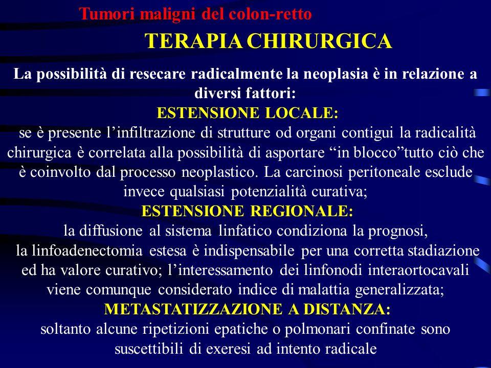 Tumori maligni del colon-retto TERAPIA CHIRURGICA La possibilità di resecare radicalmente la neoplasia è in relazione a diversi fattori: ESTENSIONE LO