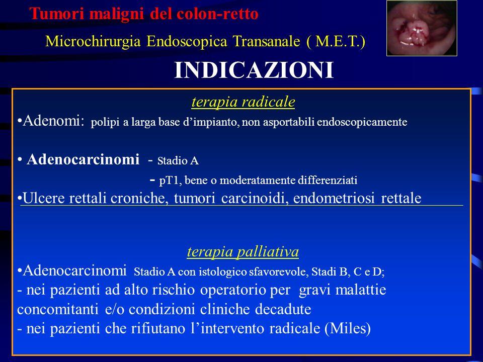 INDICAZIONI terapia radicale Adenomi: polipi a larga base dimpianto, non asportabili endoscopicamente Adenocarcinomi - s tadio A - pT1, bene o moderat